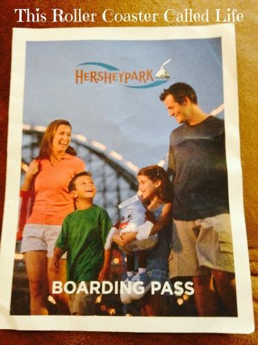 Hershey Park Boarding Pass