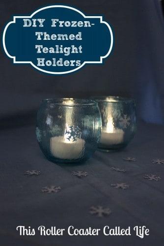 DIY Frozen Themed Tealight Holders #Frozen #DIY #Craft