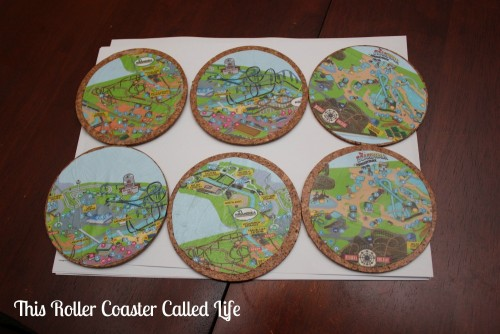 DIY Theme Park Map Coasters Finished