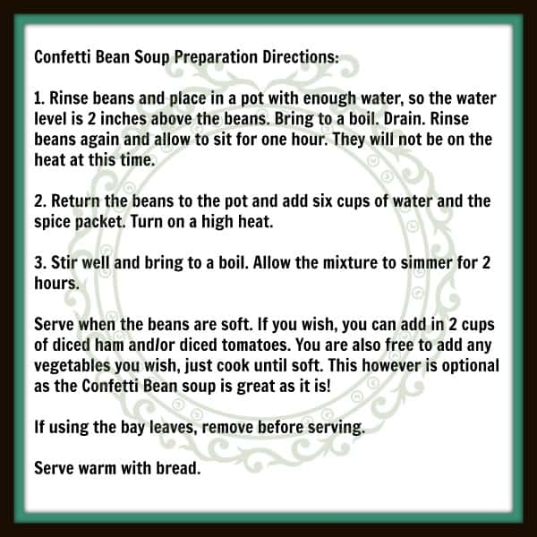 Confetti Bean Soup Preparation Directions 600