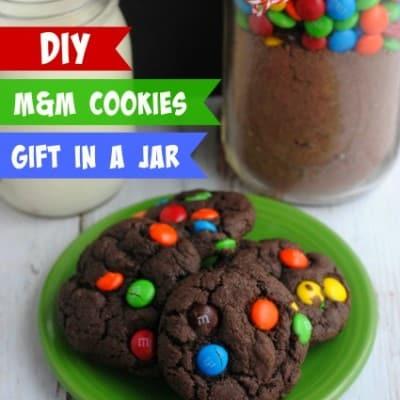 DIY M&M Cookies Gift in a Jar