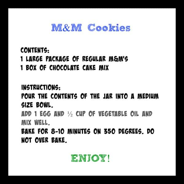 M&M Cookies Gift Tag