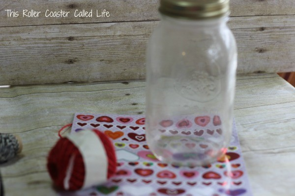 Heart Sticker Vase Supplies