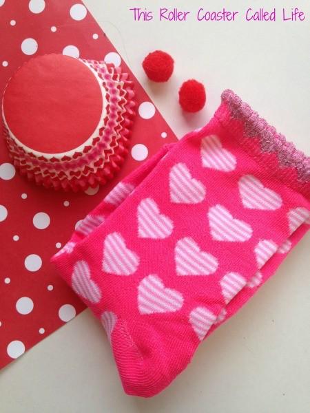 Valentines Sock Cupcake Supplies