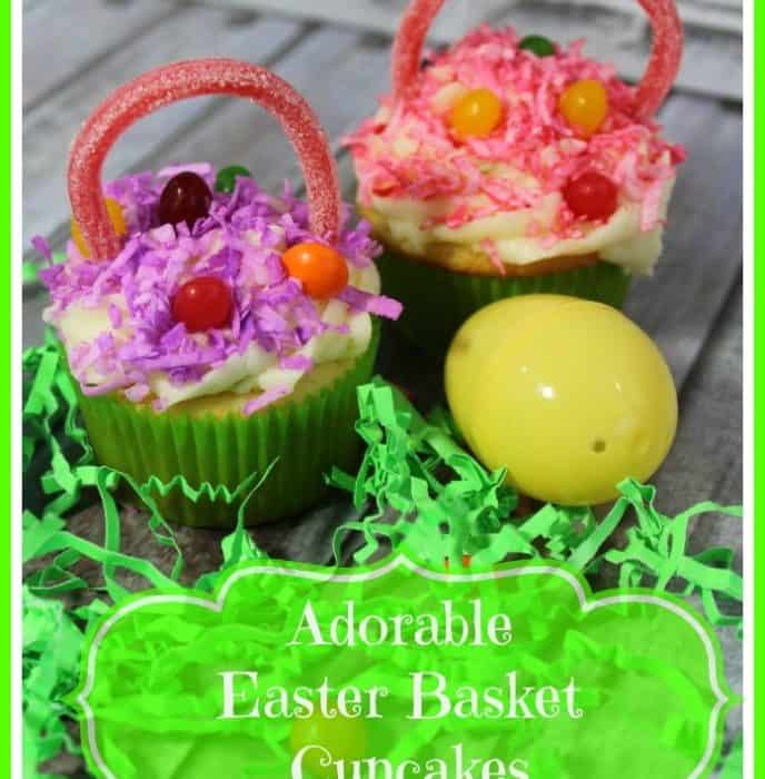 Adorable Easter Basket Cupcakes