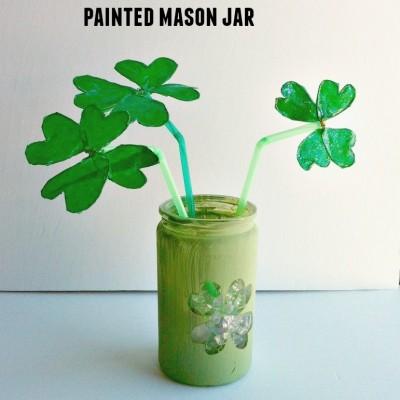 DIY Shamrock Bouquet in a Painted Mason Jar