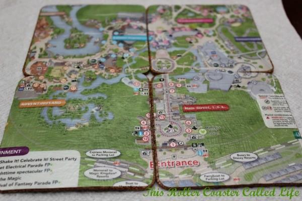 Walt Disney World Theme Park Map Coasters