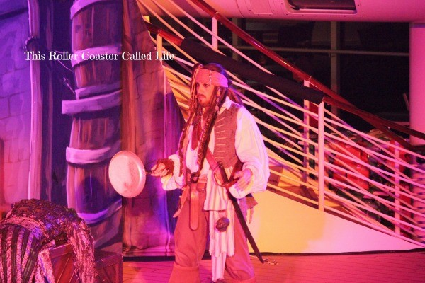 Pirates in the Caribbean Captain Jack Sparrow with a frying pan
